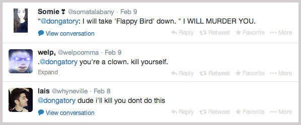 Flappy Bird Death Threats